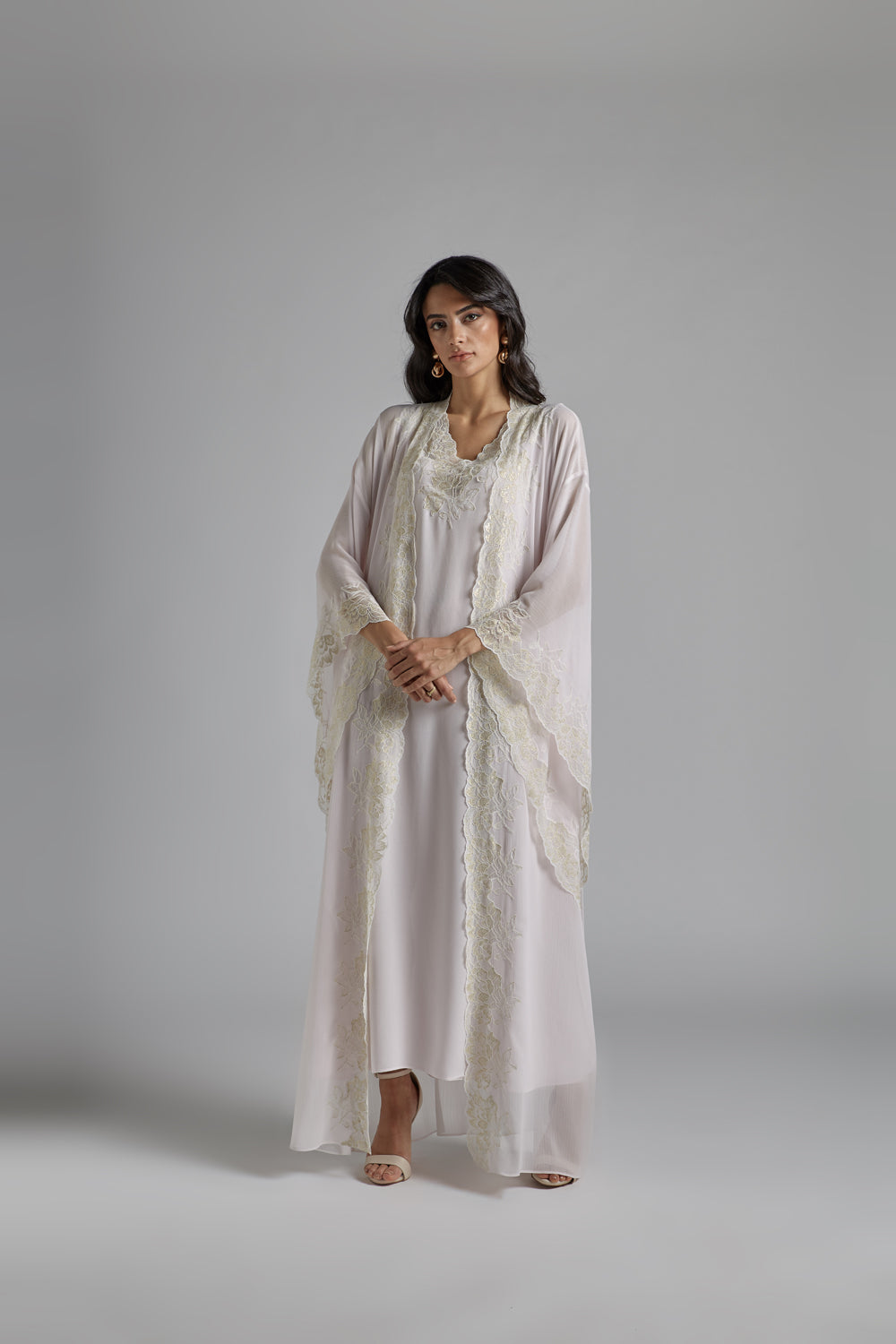 Silk Chiffon Baby Pink Robe Set - Kiss of a Rose