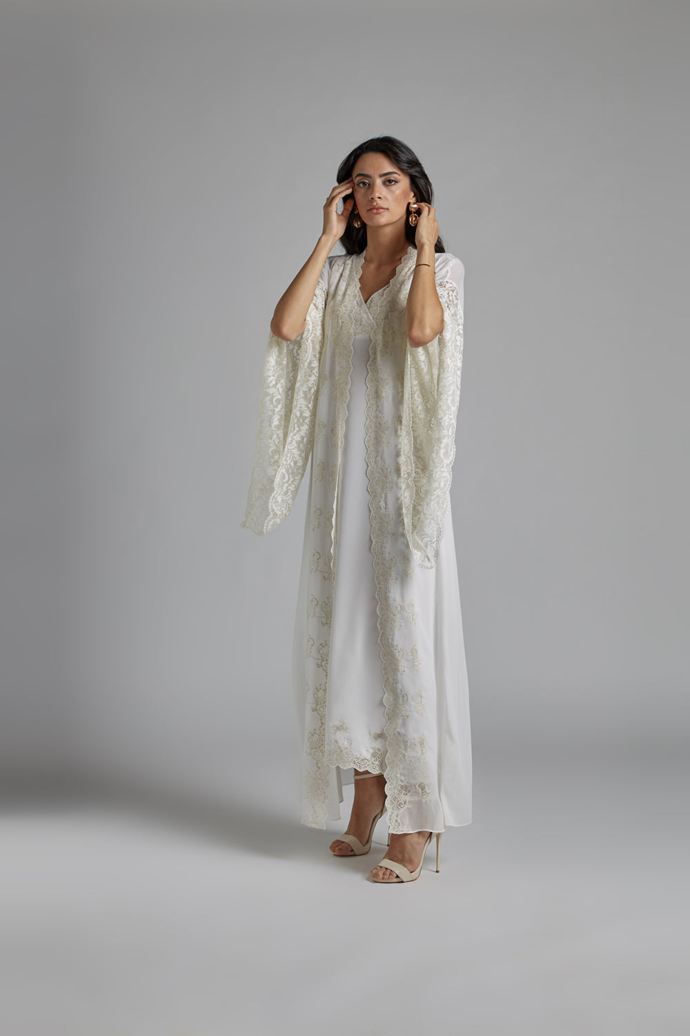 Silk Chiffon Robe Set Off White Goldish - Grace