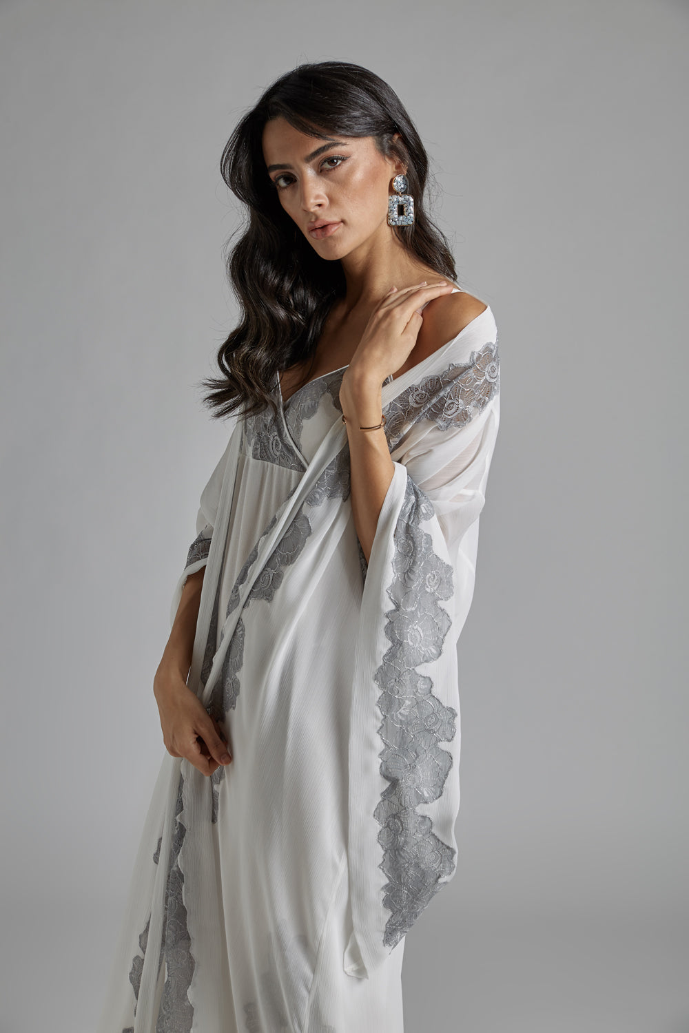 Silk Chiffon Off White Robe Set - Femme Belle