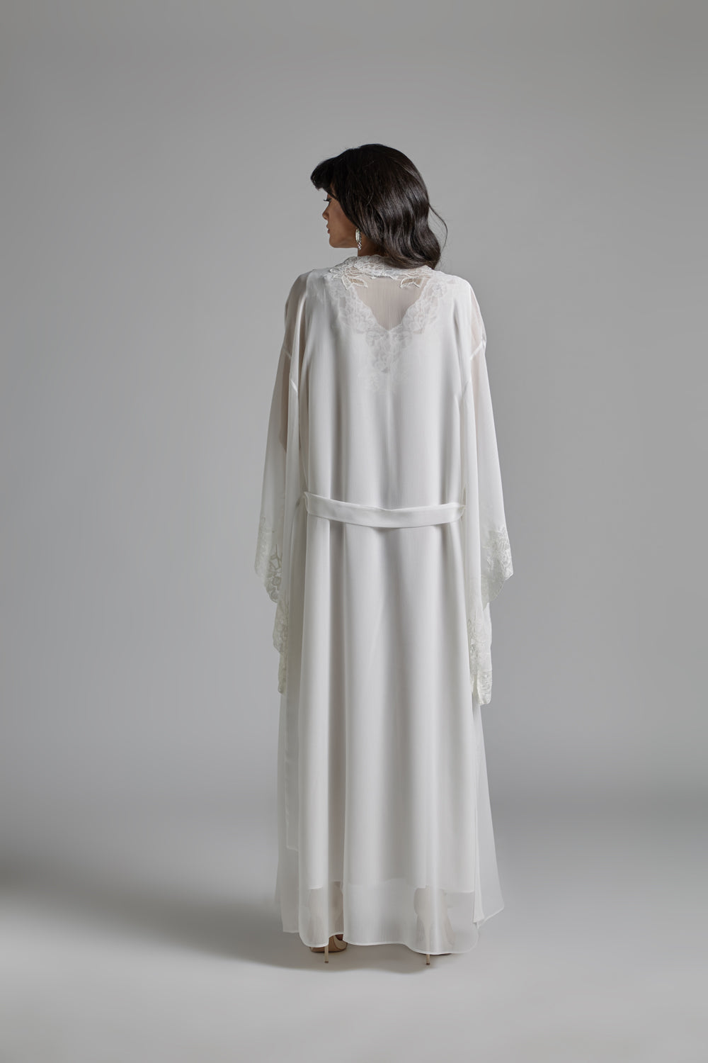 Silk Chiffon Off White Robe Set - Silverline
