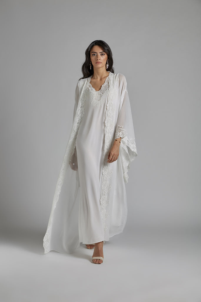 Silk Chiffon Robe Set Off White - Perla