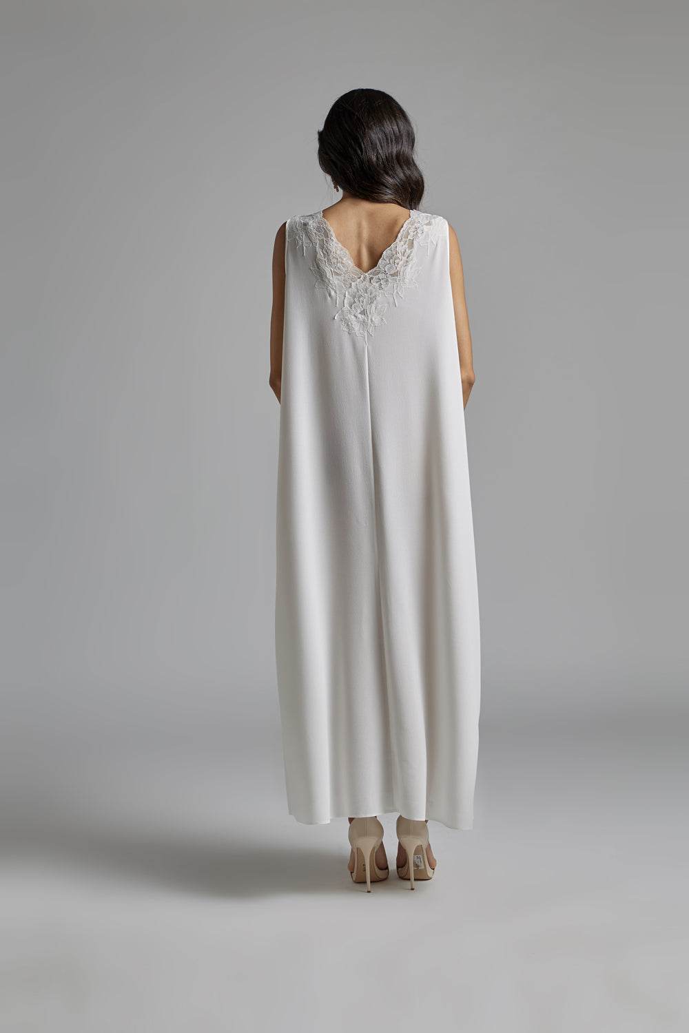 Silk Chiffon Off White Robe Set - Perla
