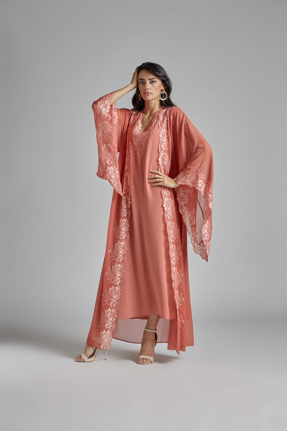 Silk Chiffon Robe Set - Coral to Coral