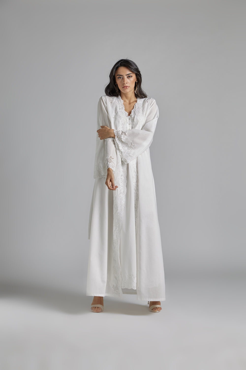 Cotton Vual Off White Robe Set - Reina