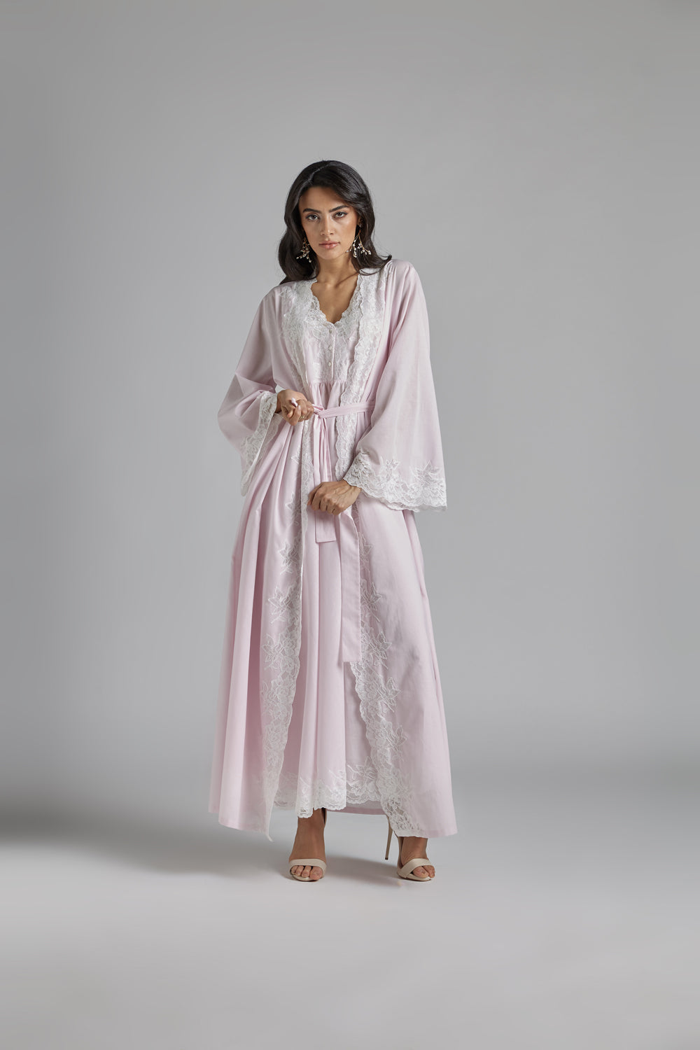 Cotton Vual Baby Pink Robe Set - Reina