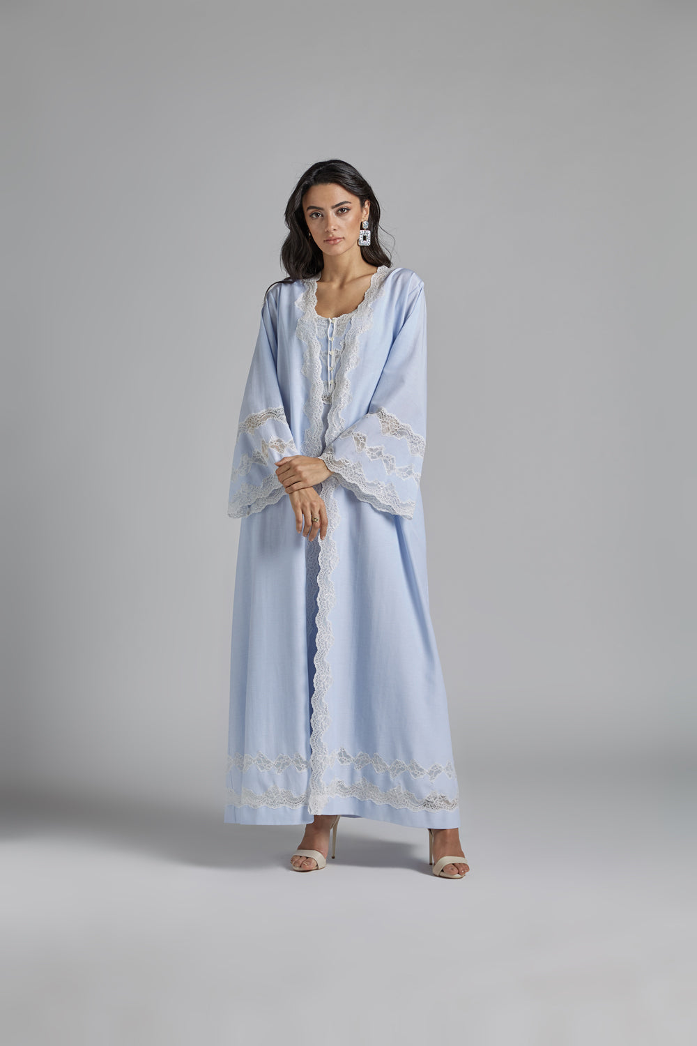 Cotton Buttoned Baby Blue Robe Set - Louise