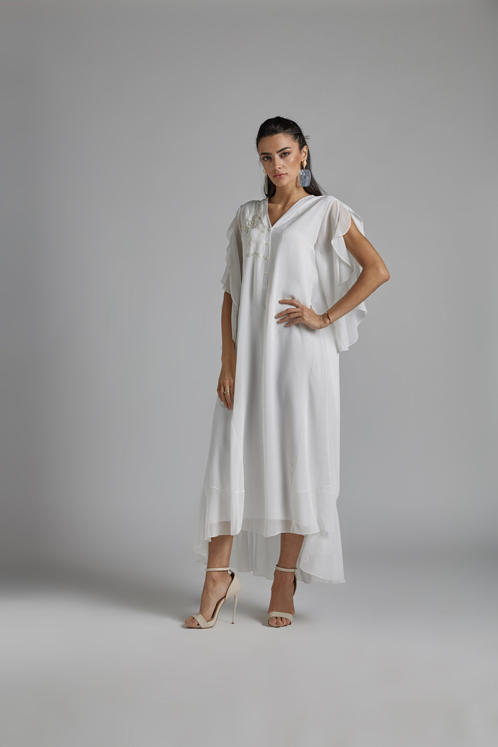 Silk Chiffon Off White Dress - Dulce Sueno