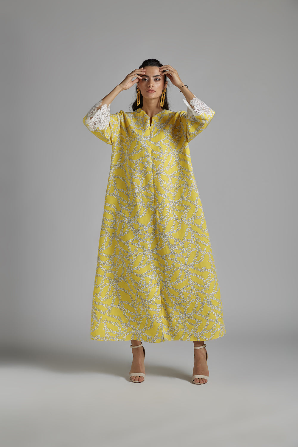 Trimmed Linen Dress - Citron