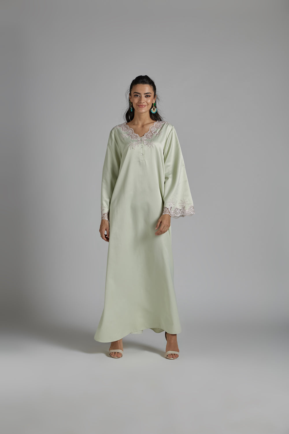 Trimmed Cotton Dress Light Green - Orchid
