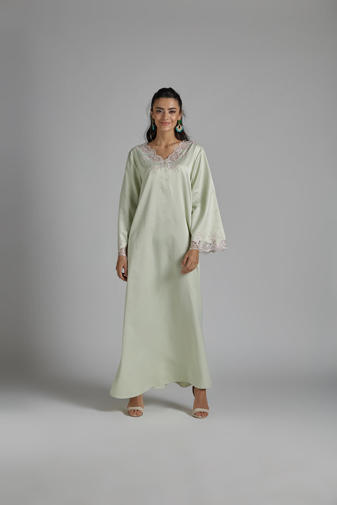 Cotton Dress Light Green - Orchid