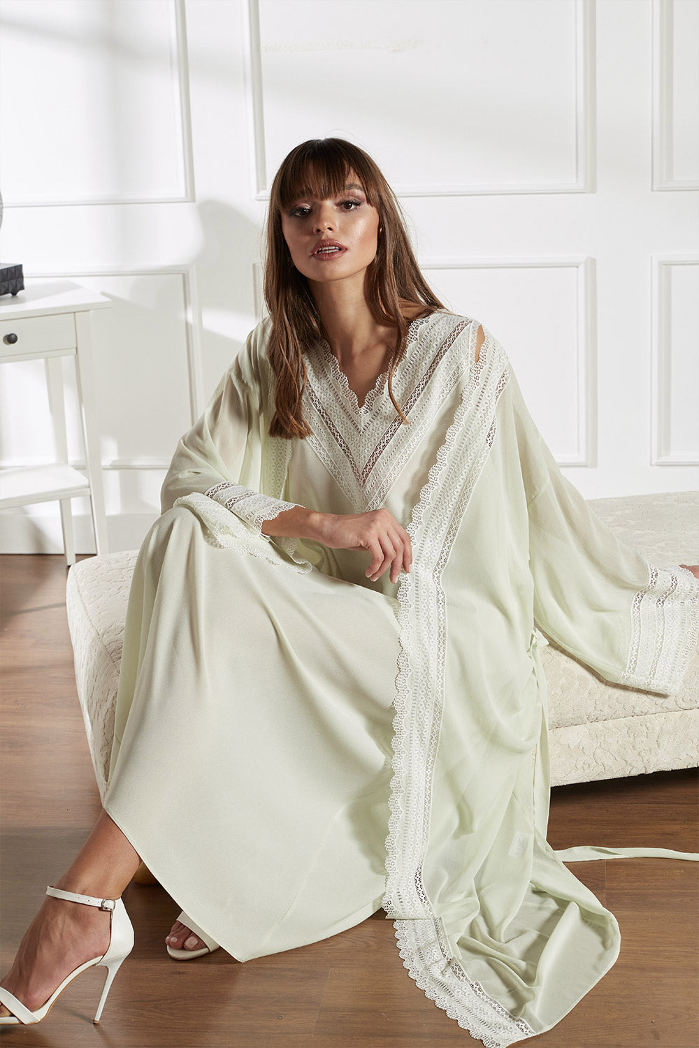 Silk Chiffon Light Green Robe Set - Lady Nile