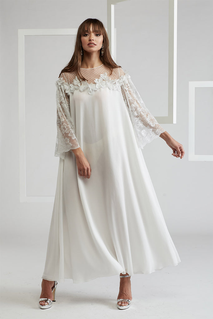 Silk Chiffon Embellished Dress Off White - Dusty Kiss on Shoulder