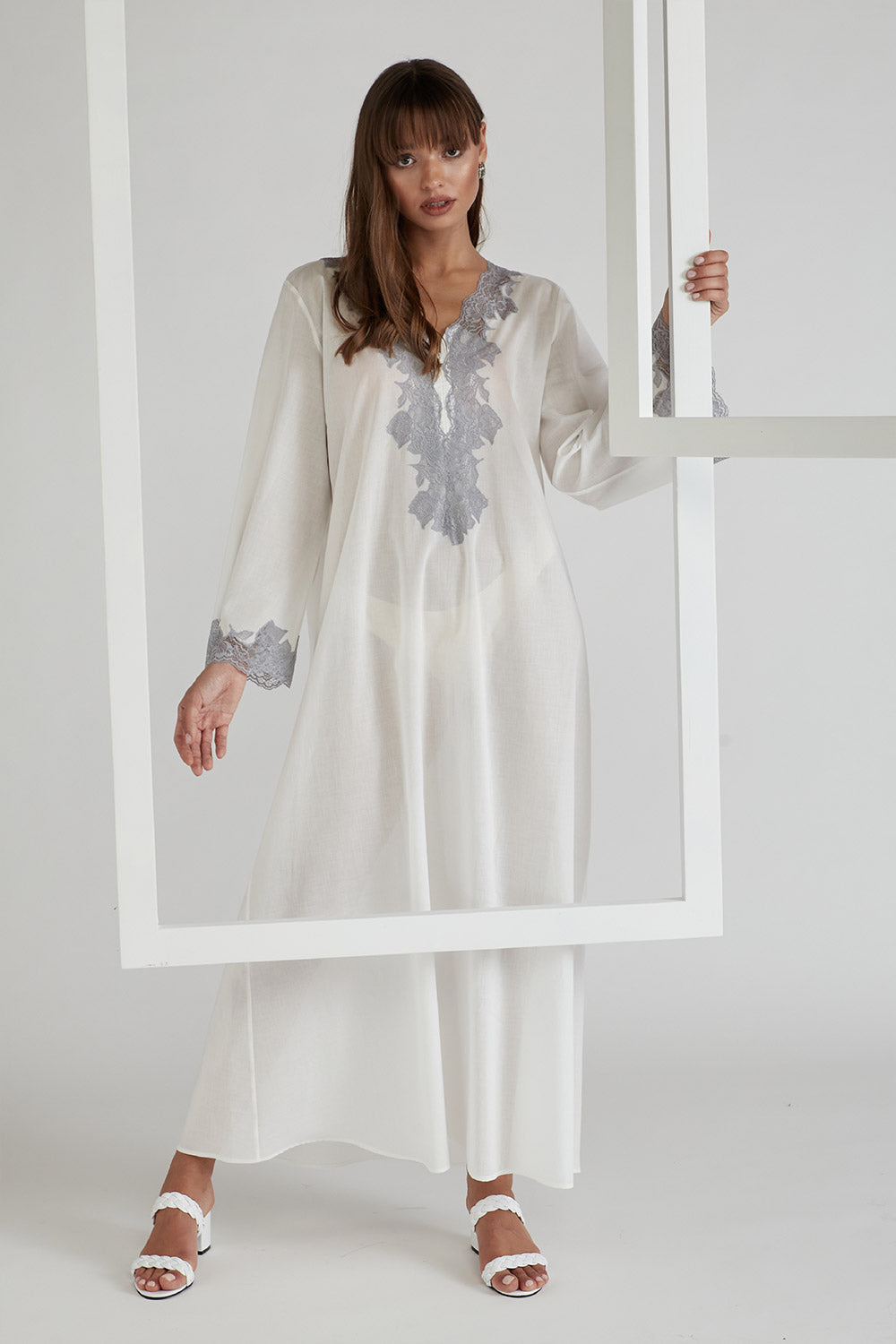 Trimmed Cotton Dress - Off White