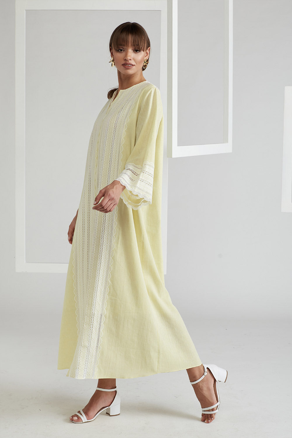 Trimmed Linen Dress - Yellow