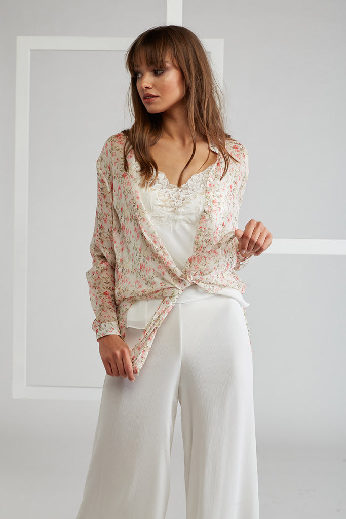 Trimmed Pyjama Set with Printed Long Shirt - Spring Flowers - Ecru