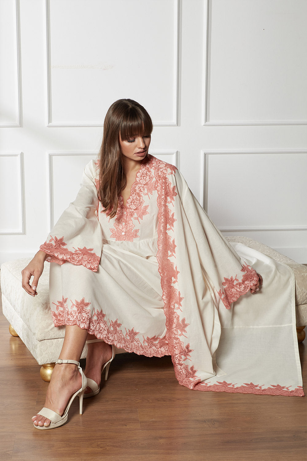 Trimmed Cotton Honey Vual Robe Set - Miel