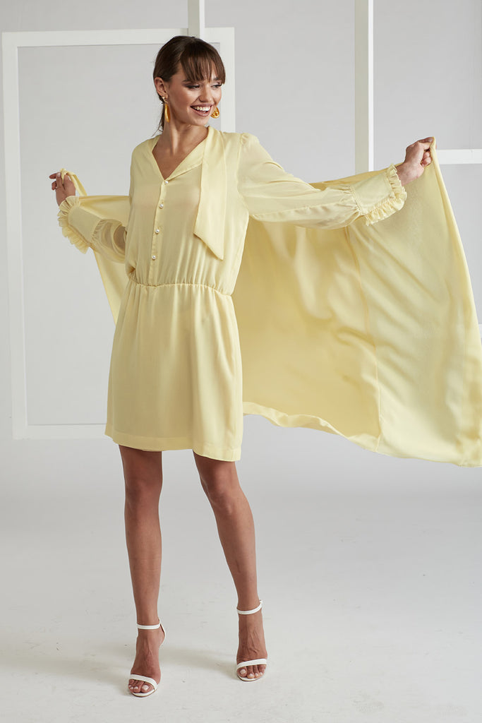 Shirt Dress with Tied Skirt - Pagoda in Yellow