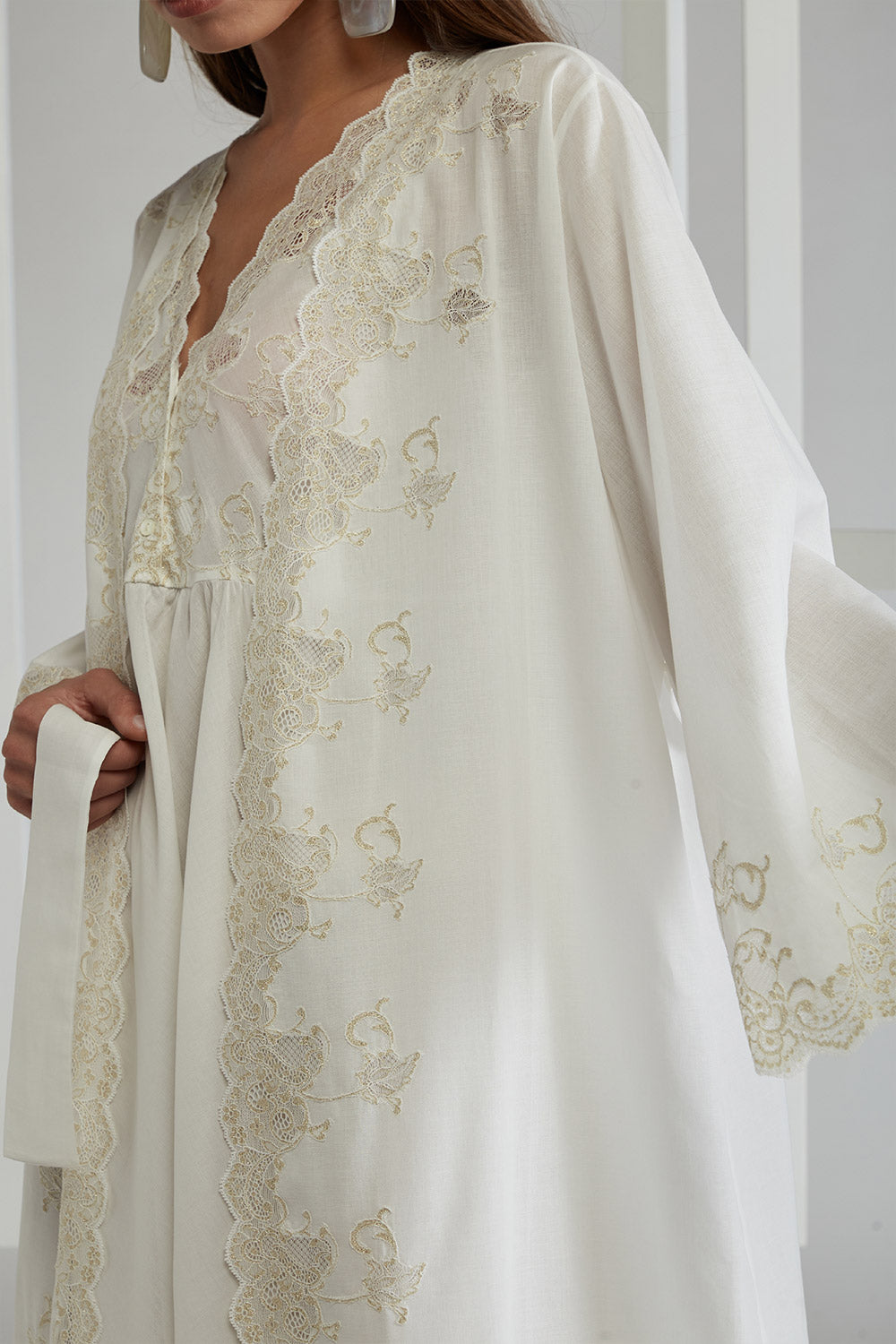 Cotton Voile Off White Robe Set - Marigold