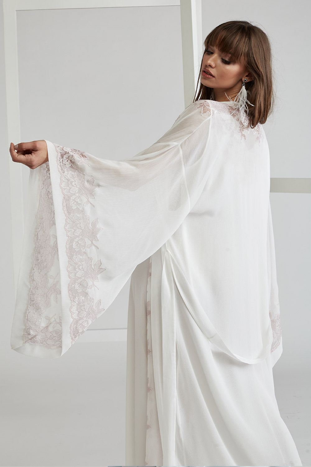Silk Chiffon Robe Set - Off White - Powder - Sofia