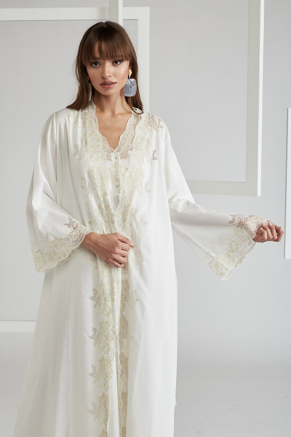 Trimmed Cotton Vual Robe Set - Big Rose ( Gold) Off White