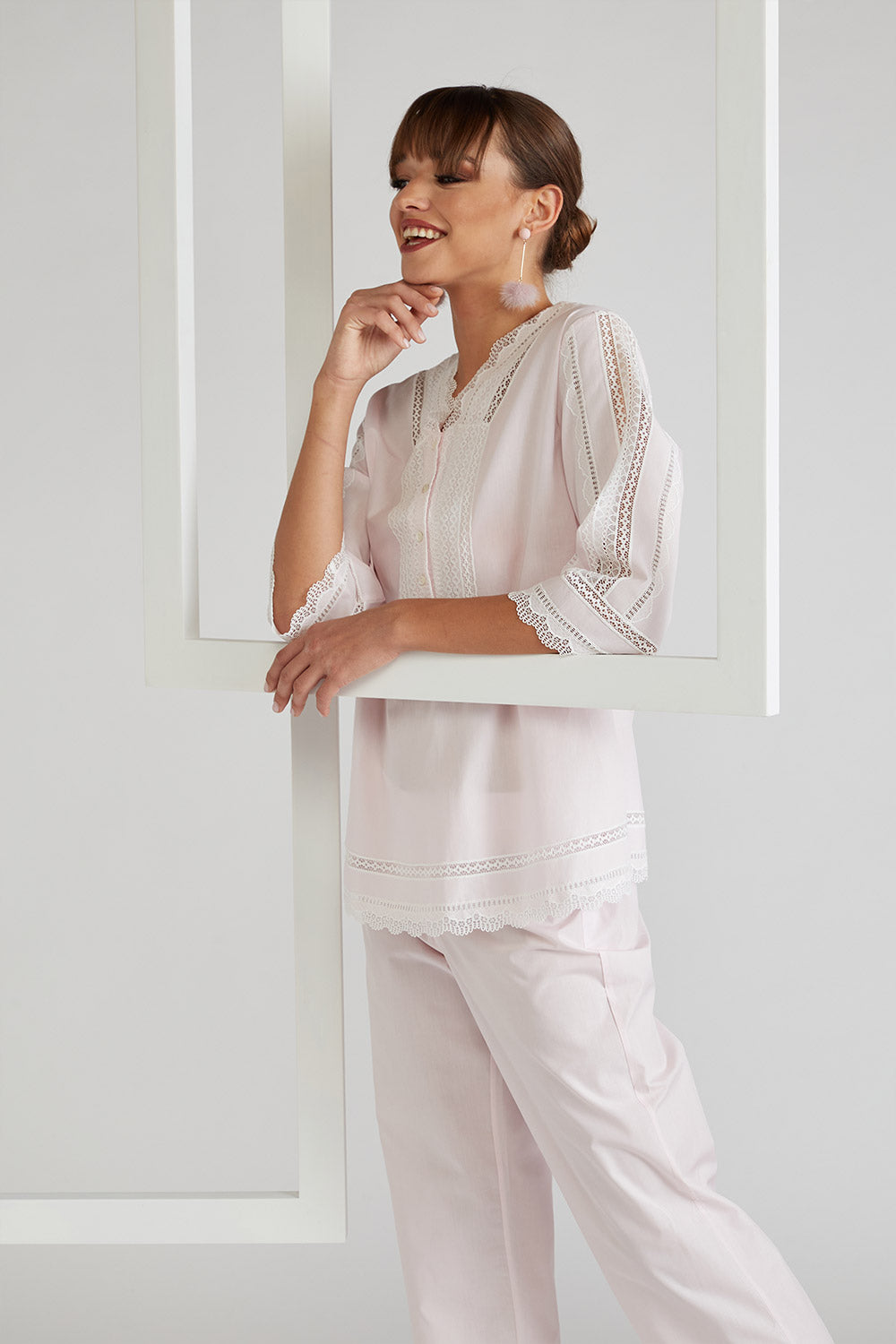 Cotton Voile Pyjama Set - Miss Sheer Light Pink