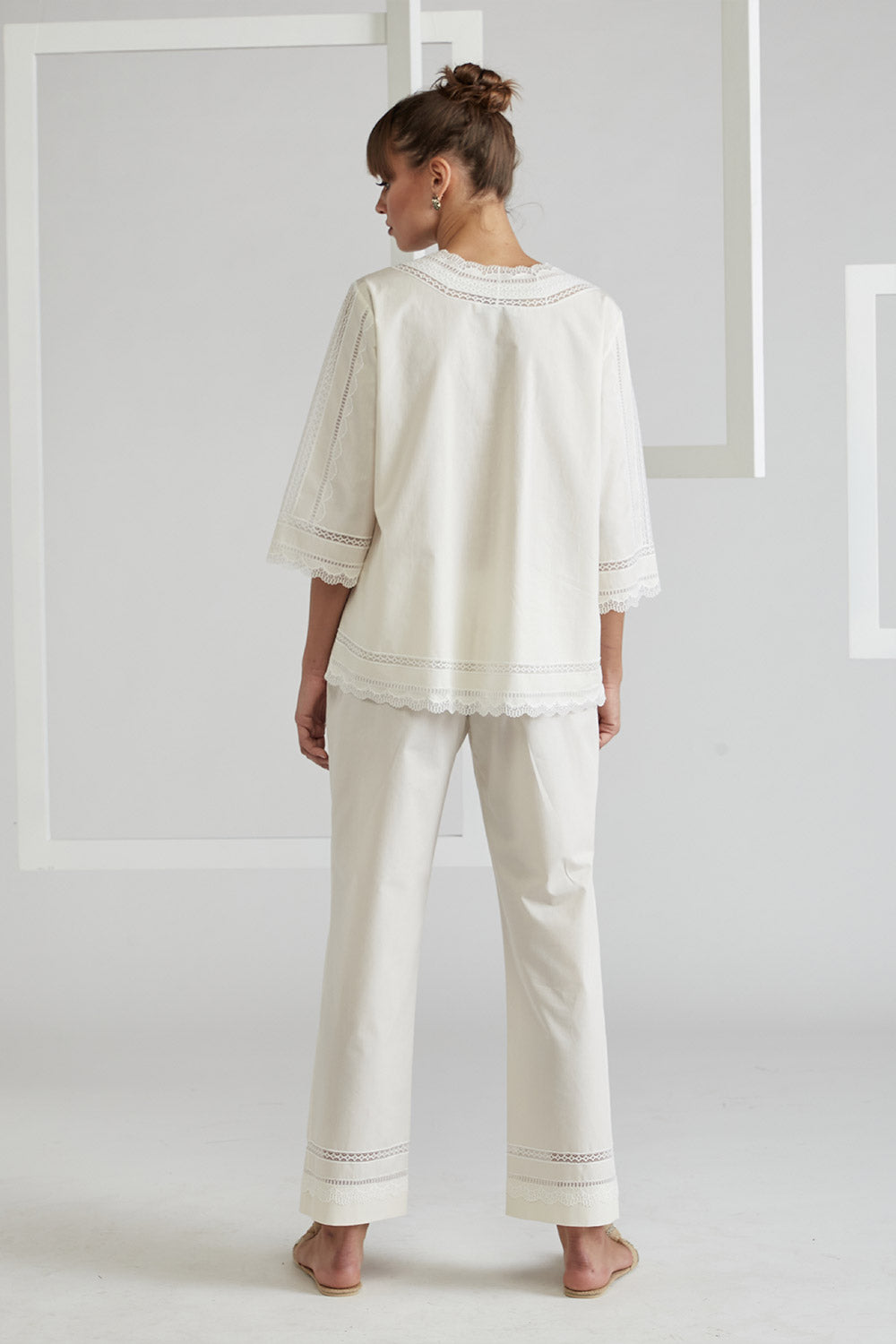 Cotton Voile Pyjama Set - Miss Sheer Off White