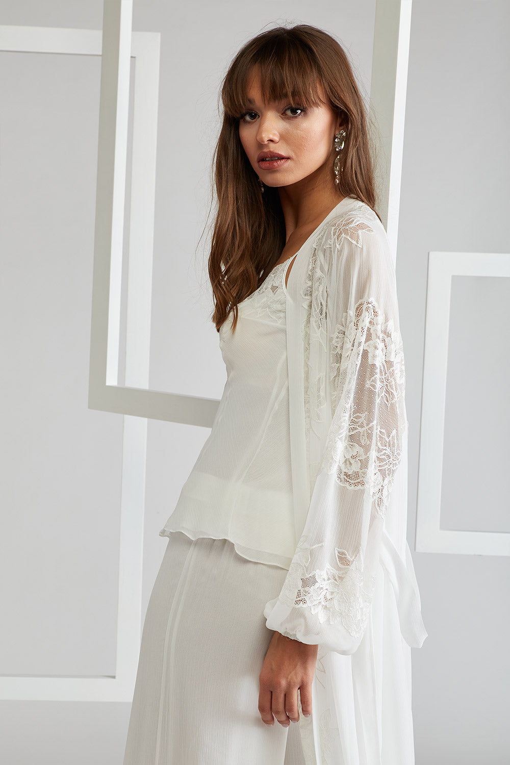 Trimmed Pyjama Set with Printed Long Robe - Off White