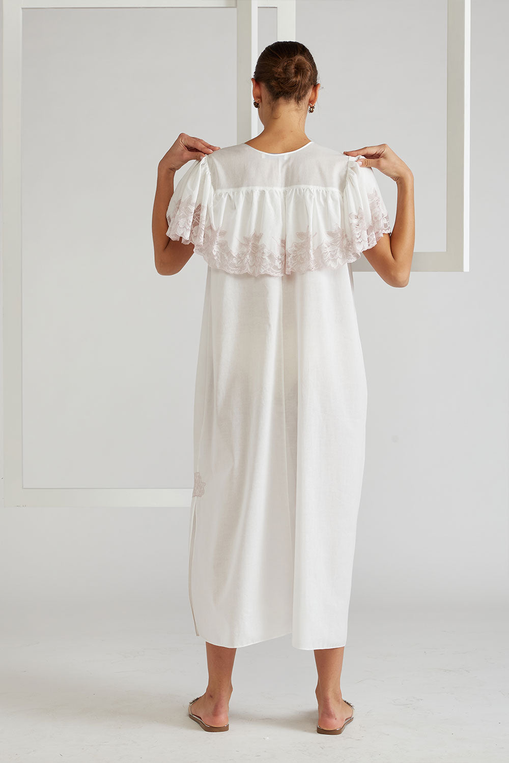 Ruffled Cotton Voile Dress - French Rose