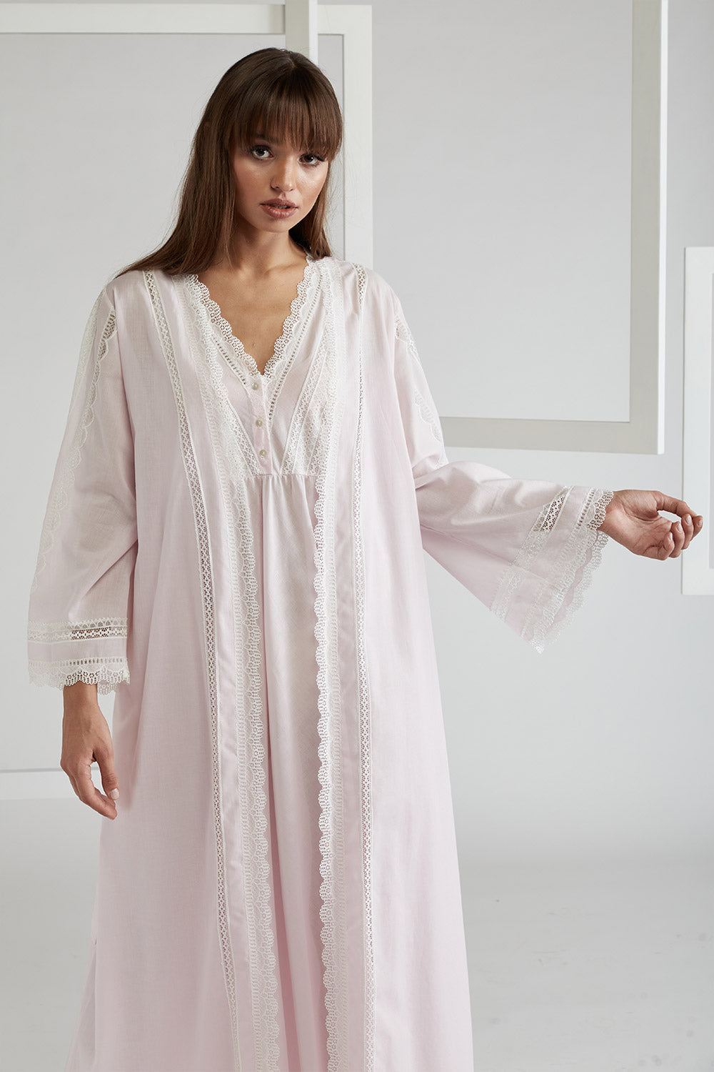 Voile Light Pink Robe Set - Lady Sheer