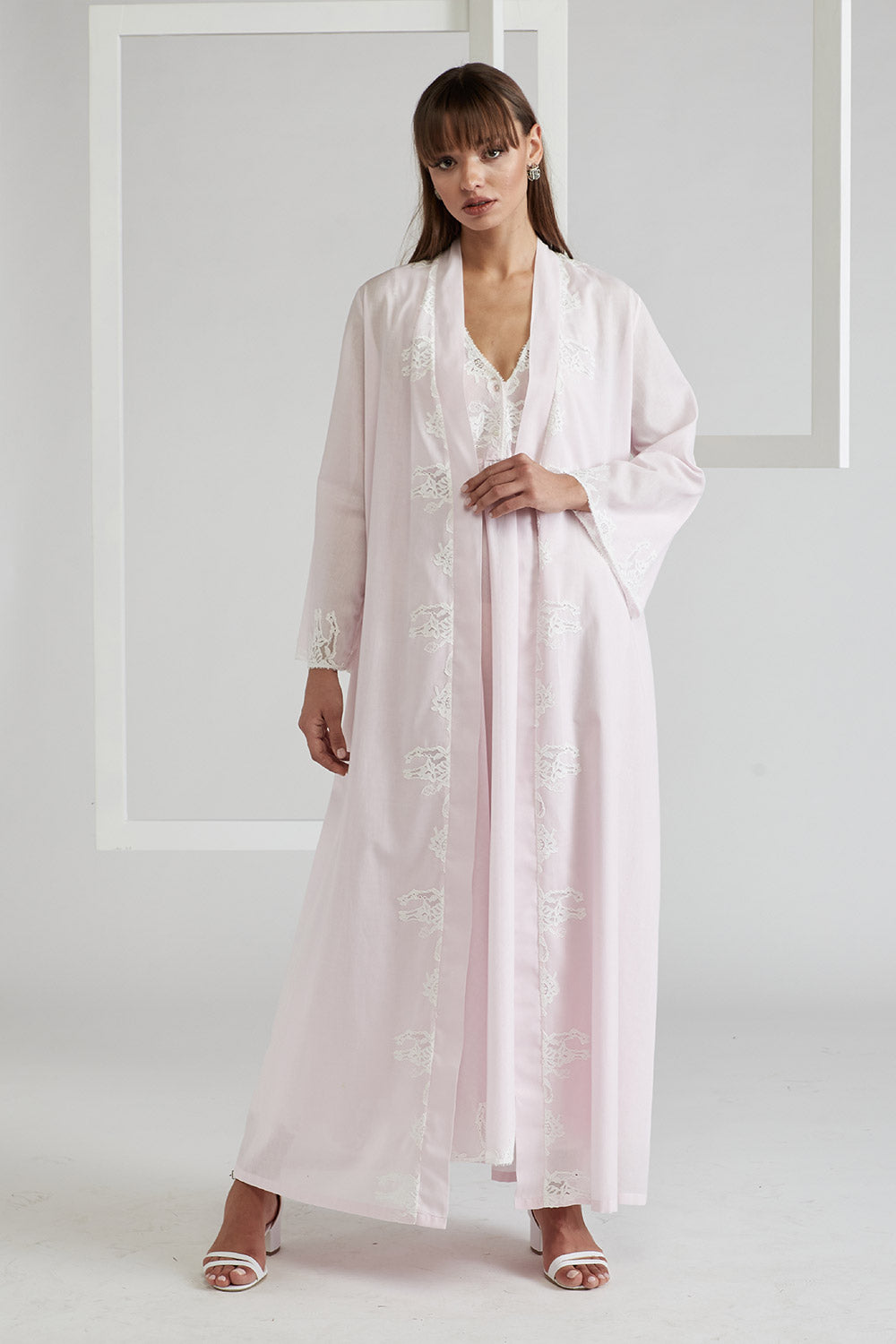 Trimmed Cotton Vual Robe and Trimmed Cotton Vual Nightie - Bloom (Ecru) Light Pink