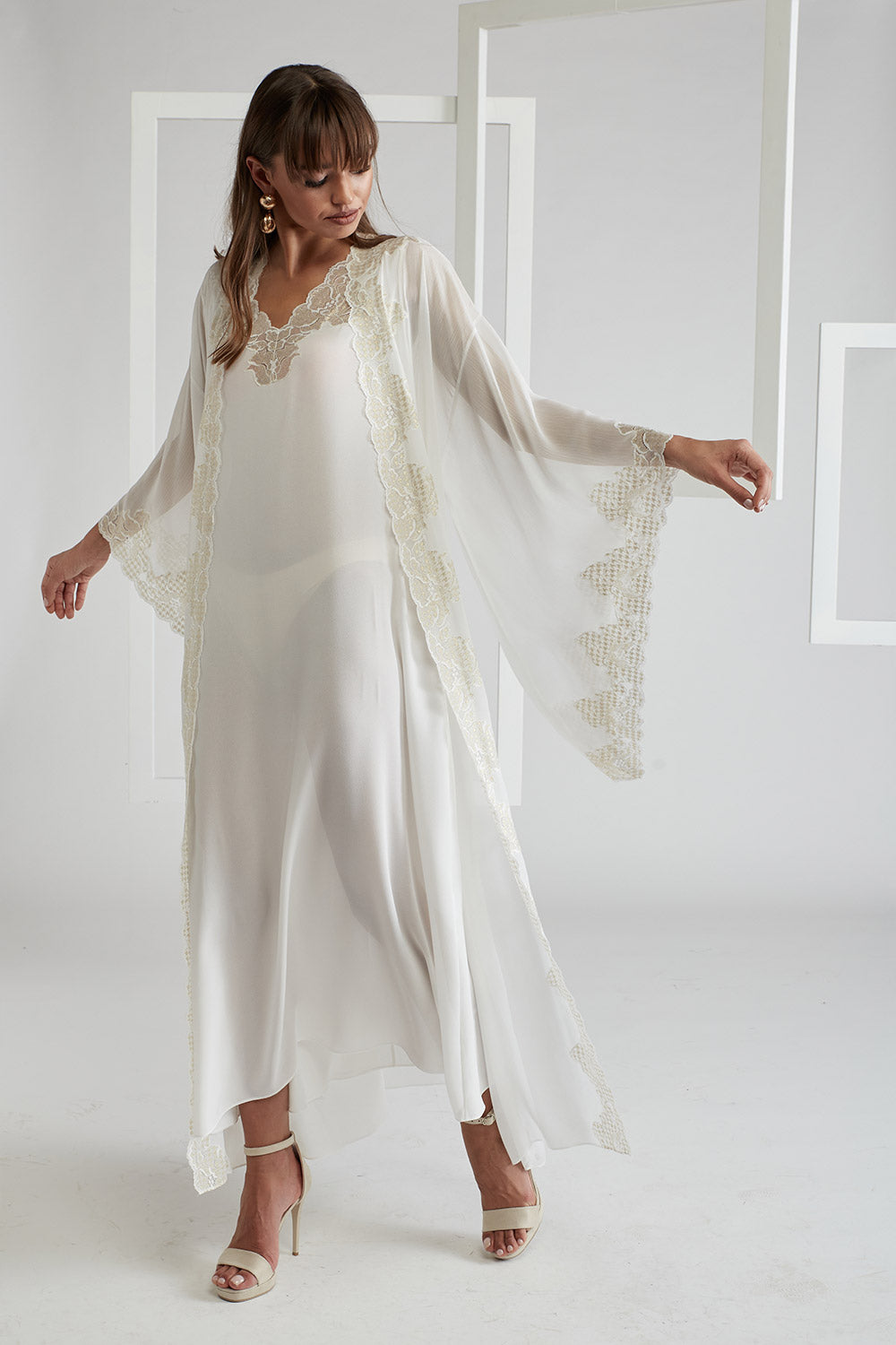 Silk Chiffon Off White Robe Set - Lucia (Gold)