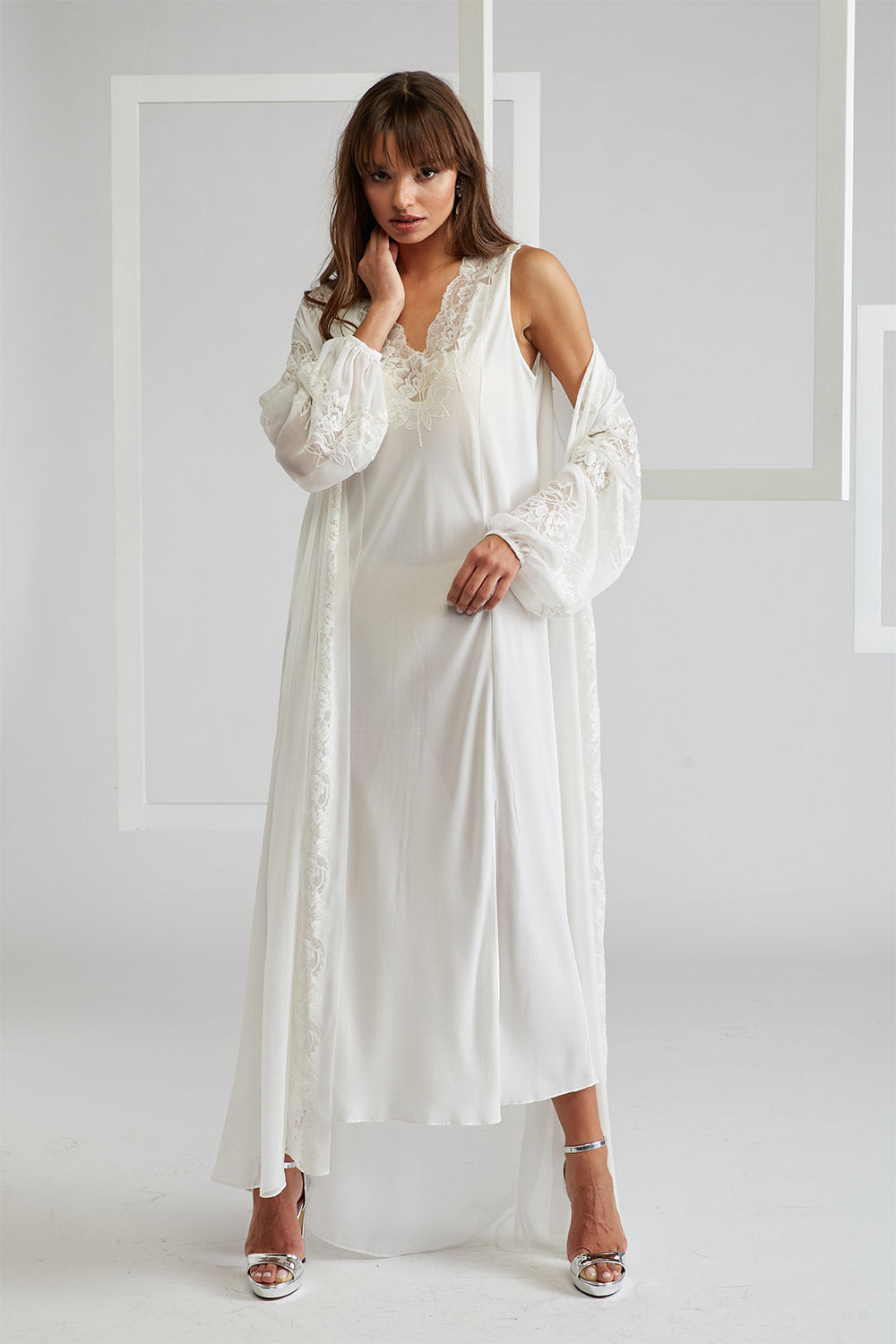 Trimmed Silk Chiffon Robe Set - Big Rose (Off White) Off White - Emma in Romance