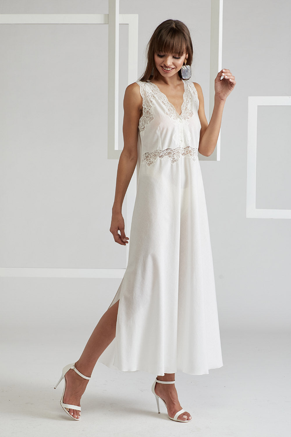 Trimmed Cotton Vual Robe Set - Sheila (Off White) Off White - Sofia