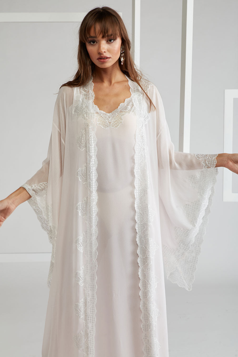 Trimmed Silk Chiffon Robe Set - Lucia(Silver) Light Pink
