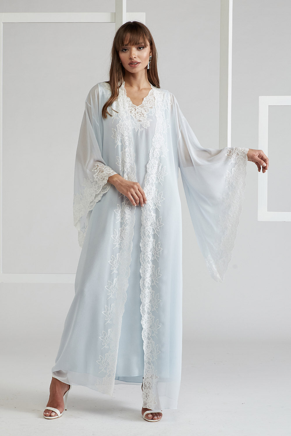 Silk Chiffon Baby Blue Robe Set- Irina