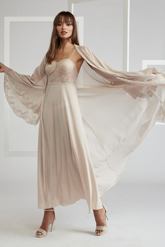 Silk Chiffon Robe & Silk Crepe Nightie Beige - Mia