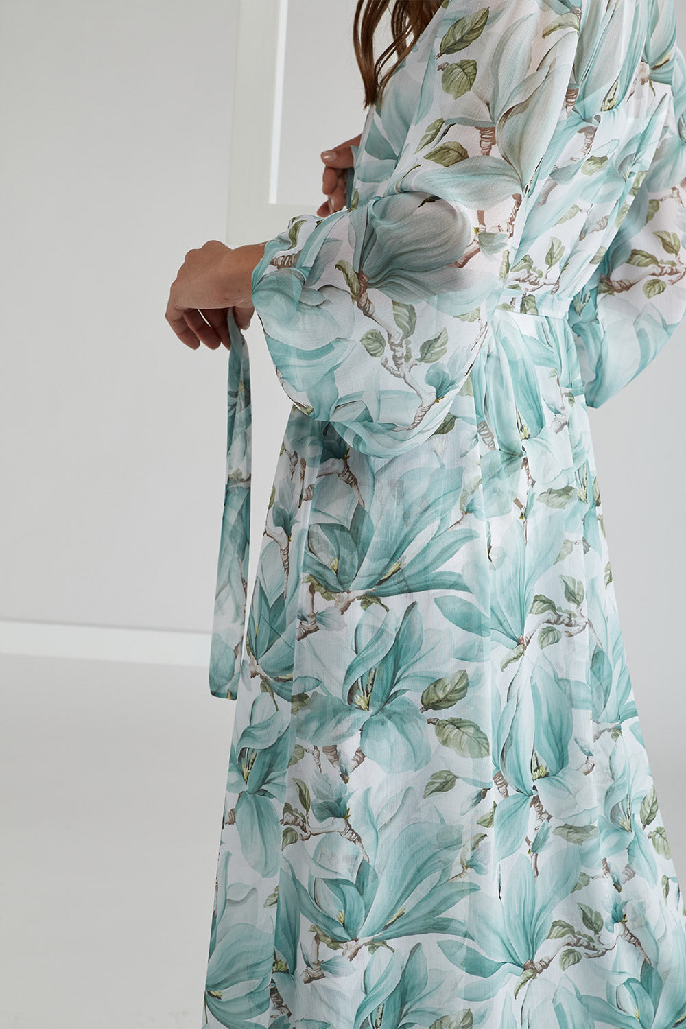 Trimmed Pyjama Set with Printed Long Robe - Magnolia - Floral Green