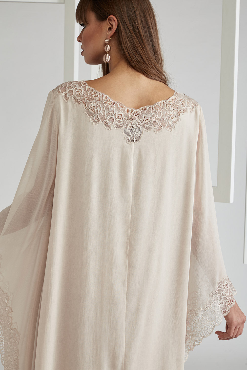 Trimmed Triangular Sleeve Silk Chiffon Dress - Nude ( Beige)