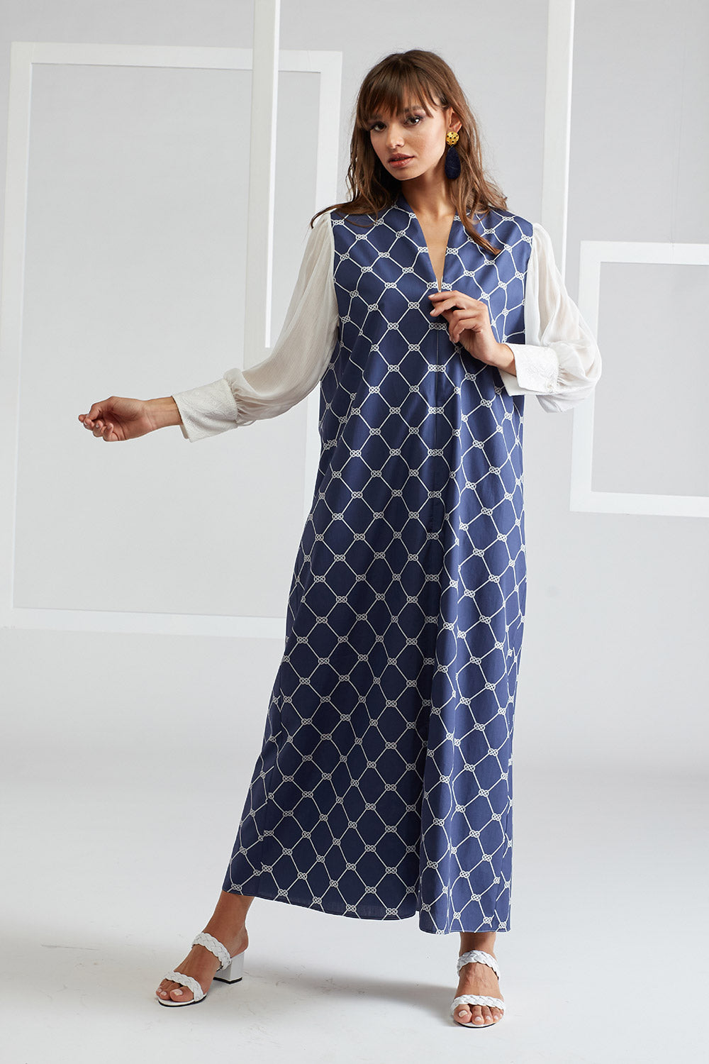 Printed Cotton Poplin and Silk Chiffon Dress- Royal Marine Navy