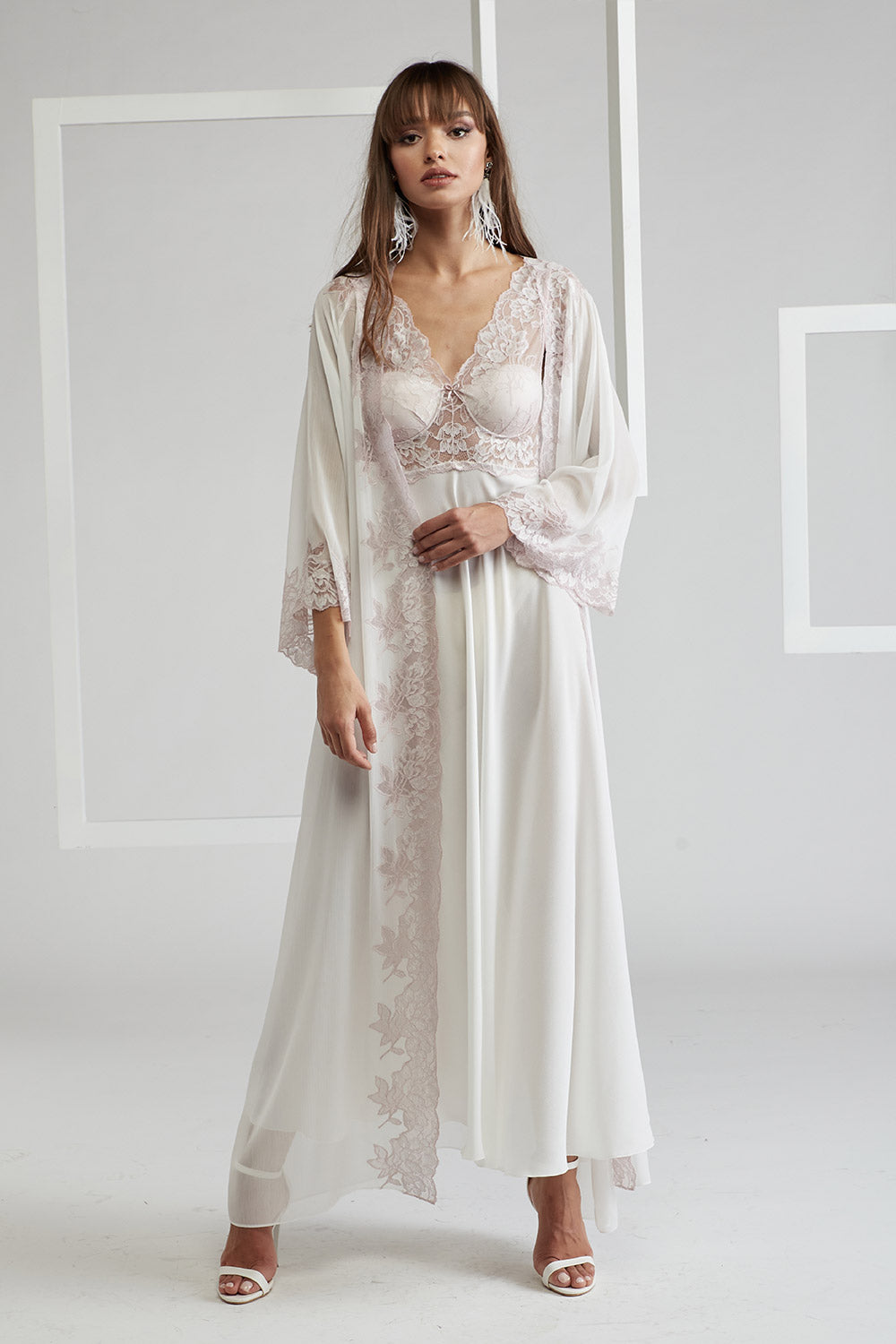 Trimmed Silk Chiffon Robe Set - Off White - Mia Light Pink