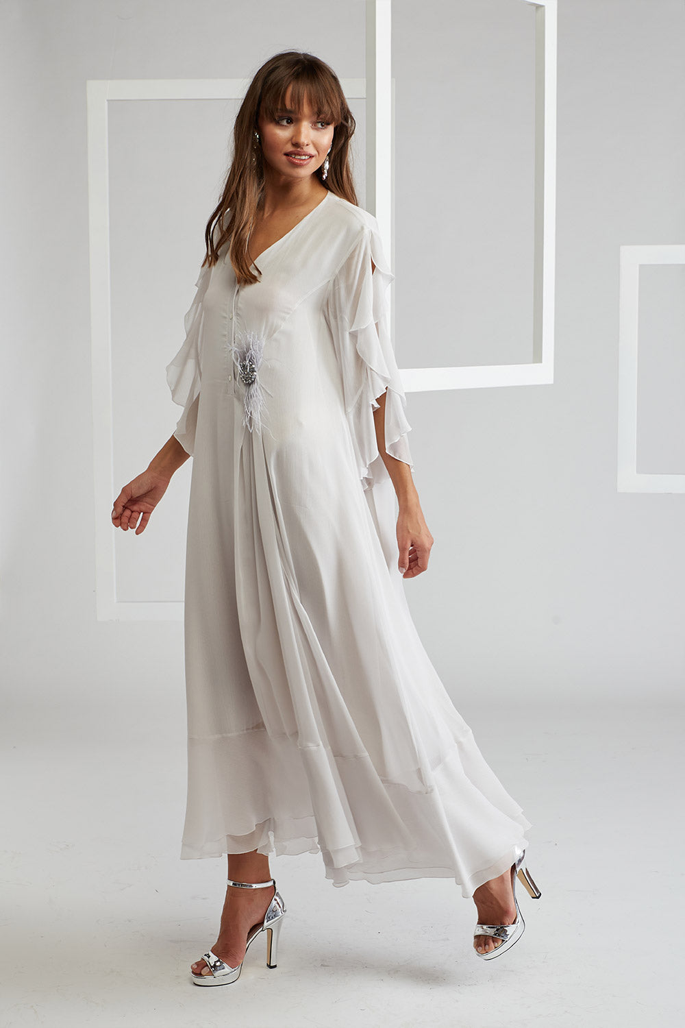 Silk Chiffon Trimmed Dress With Furry Pin - Off White
