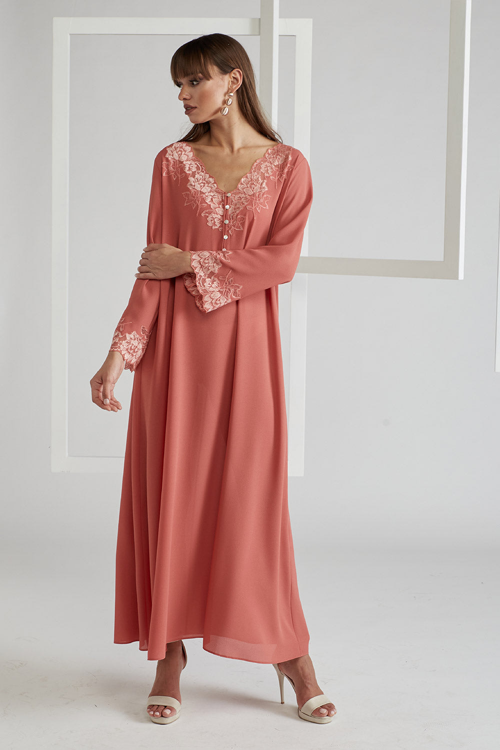 Trimmed Silk Crepe Dress - Coral
