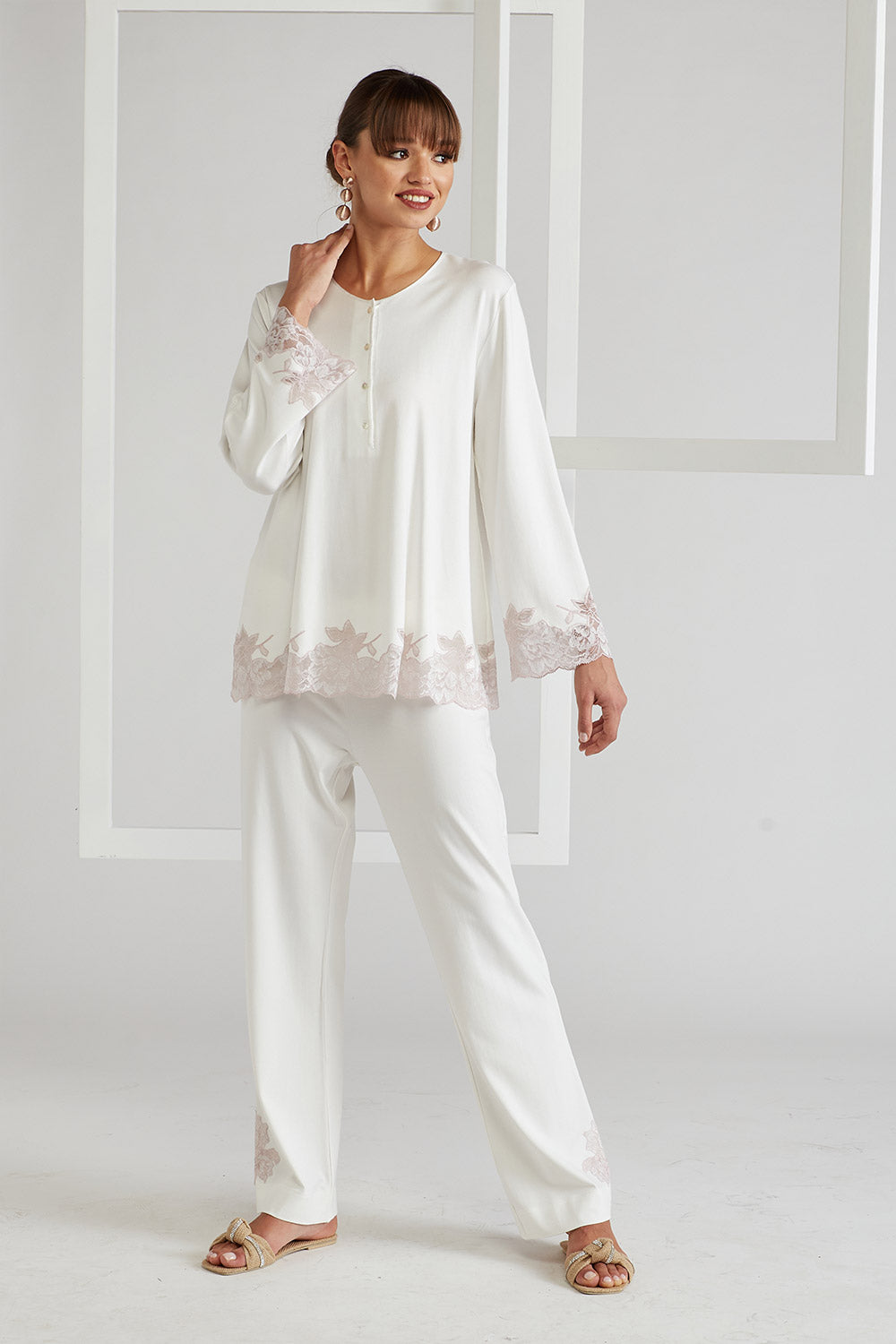 Trimmed Rayon Half Buttoned  Pyjama Set - Big Rose ( Pink ) Off White