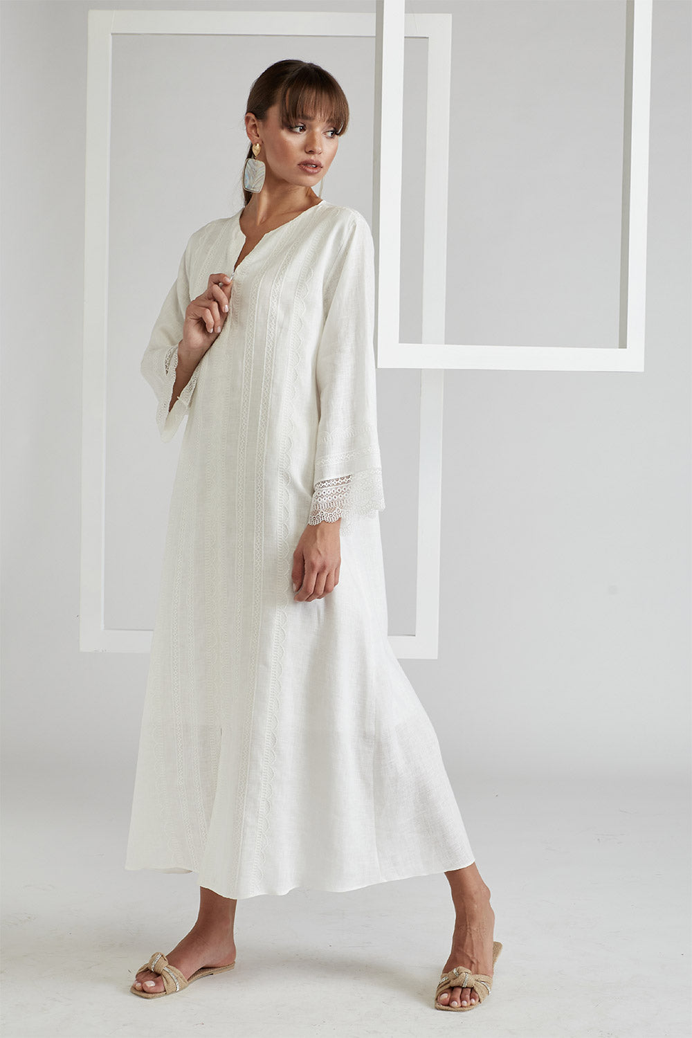 Trimmed Linen Dress - Off White