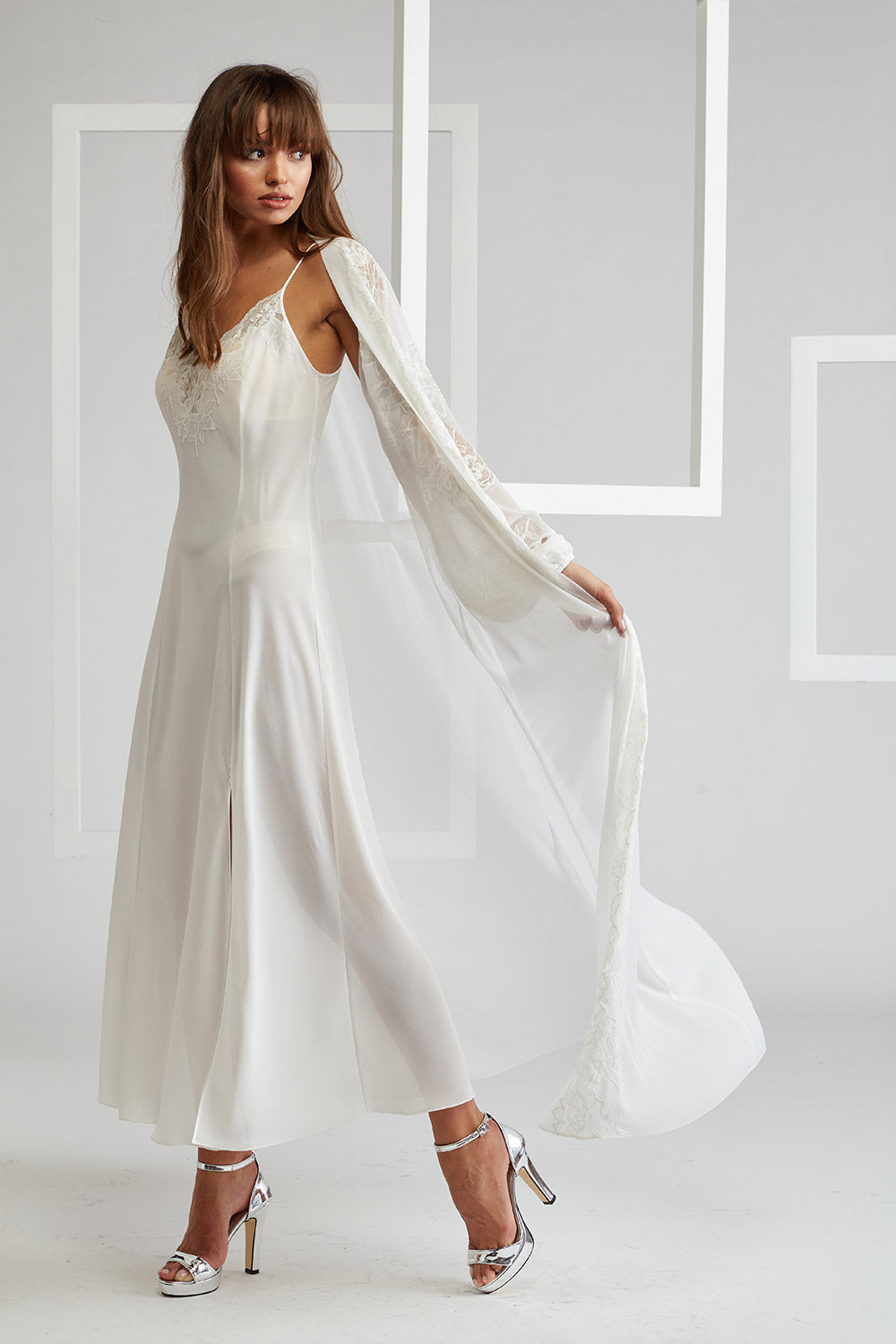 Trimmed Silk Chiffon Robe Set - Off White - Ecru - Emma