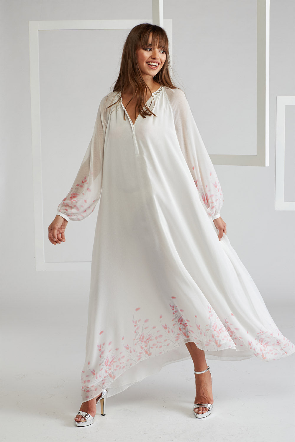 Trimmed Silk Chiffon Dress, layered by viscose