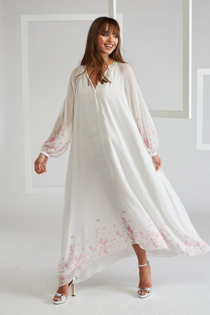 Silk Chiffon Dress Off White - Layered by Viscose