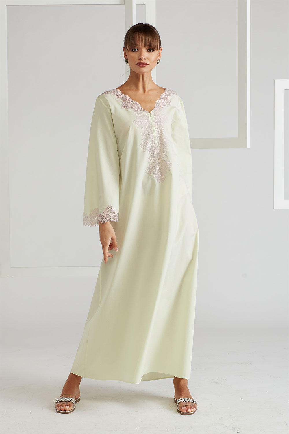 Cotton Poplin Dress - Sheila (Pink) Light Green
