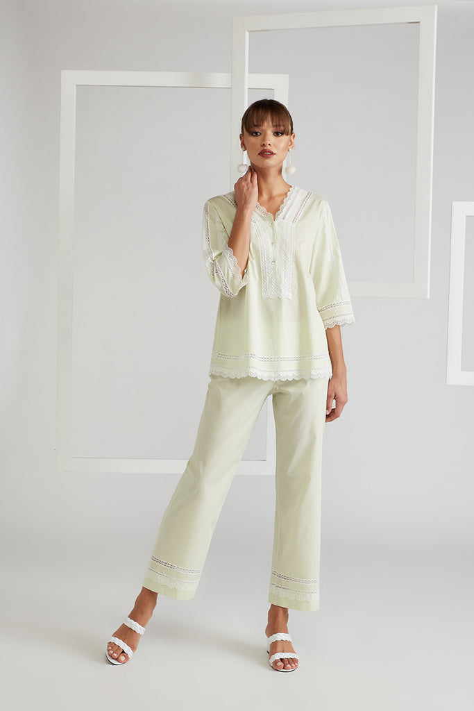 Cotton Voile Pyjama Set - Miss Sheer  Nile Green