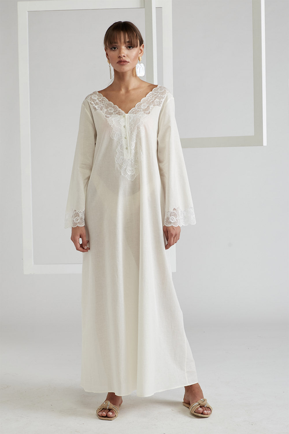 Trimmed Cotton Dress - Ecru
